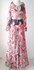 ZUHAIR MURAD Silk Chiffon Print Tunic Top Skirt Set Dress Gown 48 12