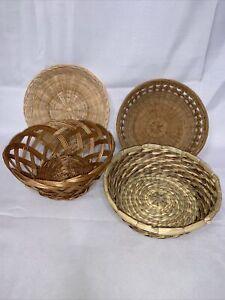 Vintage Wicker Rattan Baskets Lot of 4 Wall Decor