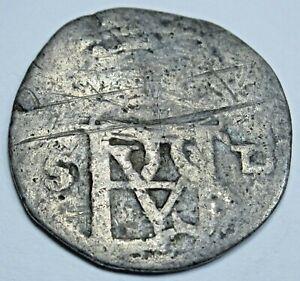 1500's Philip II Sevilla D Silver 1/2 Reales Antique Spanish Colonial Cob Coin