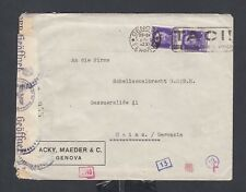 ITALY 1942 WWII CENSORED COVER GENOVA TACI SLOGAN CANCEL TO MAINZ GERMANY
