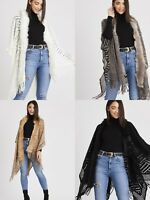 Women Ladies Faux Fur Fringe Shawl Wrap Knitted cape Cardigan Cable Poncho