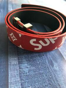 Supreme Louis Vuitton Red Monogram Belt 105/42