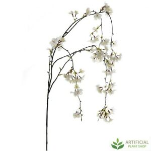 Artificial Fake Plants White Cherry Blossom Hanging Spray 130cm (pack of 6)