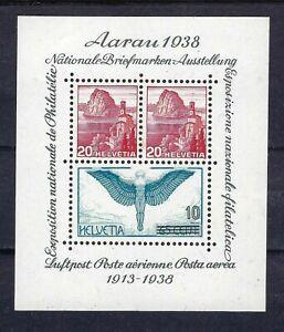Switzerland 1938 Aarau Exhibition & Air Mail Minisheet Mint Light Hinge CV £46