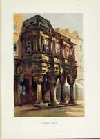 Old Vintage Print Guildhall Porch Exeter C1920 Painting By Haslehust Art 20th