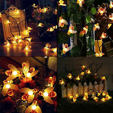 2Pack Solar Powered 30LED Honey Bee String Lights Garden Yard Decor