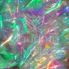 Iridescent OPAL 25x5cm Mylar Sheet Shattered Glass Nail Art Embed Cellophane