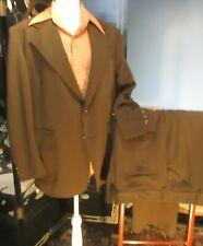 Vtg 60s 70s Leisure Suit Brown Double Knit Mens 43 - 44 Short pnts 44W 28L Bells