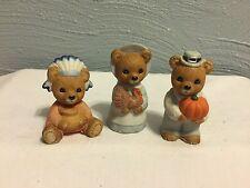 Homco #5312 Lot Of 3 Vintage Porcelain Thanksgiving Bears Figurine Set
