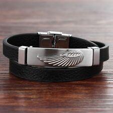 Bracelet pour homme en acier inoxydable cuir noir aile