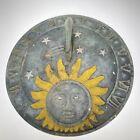 Antique Vintage CAST IRON SUNDIAL Celestial Moon Man Sun Face Nice Patina
