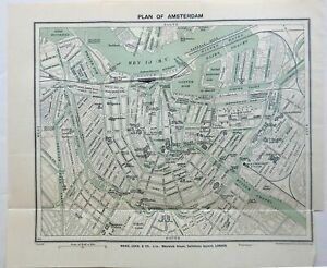 Amsterdam Holland detailed city plan 1910-20 Bartholomew small charming map