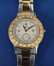Rare! Movado Mens Watch Sub Second Wht Porcelain Dial Stainless/Gold 81.09.861