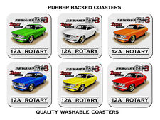 MAZDA  RX3  COUPE    12A  ROTARY   RE12      SET OF  6   RUBBER DRINK  COASTERS