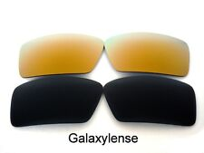 Galaxy Replacement Lenses For Oakley Eyepatch 1&2 Black&Gold Polarized 2Pairs