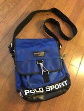 Vintage Ralph Lauren Polo Sport Messenger Shoulder Bag Purse Flag Spell Out Blue