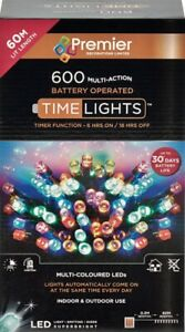 Premier 600 LED Multi-Action Battery Operated Christmas Tree Lights Timer MULTI