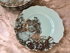 Turquoise Gold Salad Plates. 222 Fifth Garden Playtime. Bunnies. Set Of 4. New.