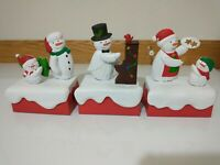 Hallmark 2018 SNOW MANY MEMORIES Musical Snowman Lot of 3 Music & Motion Jingle