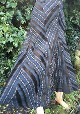Marks & Spencer Brown Boho Flare Steampunk Chevron Cord Stripe Skirt Size 12