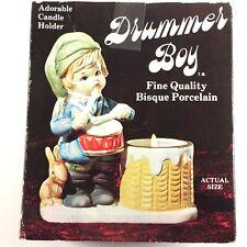 Vintage Jasco Bisque Porcelain Drummer Boy Christmas Candle Holder 1978