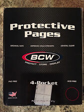 BCW Protector Pages - 4 pocket - up to 3.5x5.25 - 100 pack