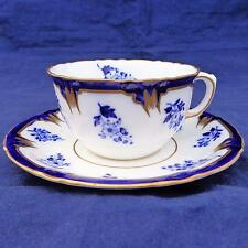 Antico Flow Blue & White Charles FORD Porcellana Coppa & Piattino Floreale PT REG 1898