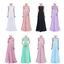 Damen Kleid festlich Hochzeit Brautjungfernkleider Abendkleid Chiffon Faltenrock