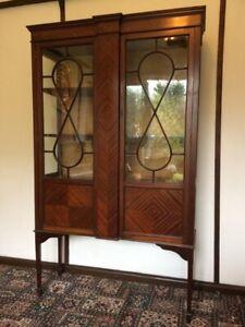 Edwardian mahogany 2 door glass Astragal display cabinet.