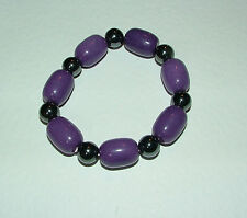 CHUNKY real stone BRACELET PURPLE agate & magnetic haematine ELASTICATED
