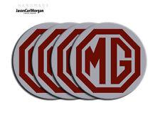MG ZT  ZS ZR Alloy Wheel Centre Caps Badges Burgundy & Silver 80mm Hub Cap Badge