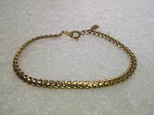 "Vintage Gold Tone Modified Wheat Link Bracelet, 7"" long, 4mm wide, signed M"