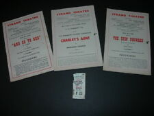 STRAND THEATRE PROGRAMMES Step Forward,Charley's Aunt,So To Bed & ADELPHI TICKET