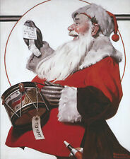 """Norman Rockwell -""""Santa with Tommys Drum"""" Christmas Art Print"""