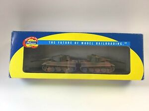 "Athearn HO scale # M.P. 60"" Flat car w/ 2 Army  tanks C-10 boxed 166474"