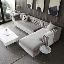 The Cubic Chesterfield Grey Velvet Luxury Corner Sofa Suite  (Left Or Right)