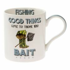 Fishing Themed Fine China Mug Novelty Cup Fisherman Bait Fishing Lover Gift