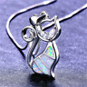 925 Silver Cat White Fire OpalPendant Chain Necklace Womens Ladies Jewellery UK