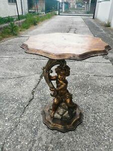 Small Table Paint Putto Cornucopia Shelf Wood Lacquered Golden Sculpture H 60 CM