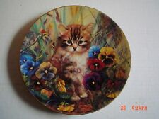 Bradford Exchange Collectors Plate MINKA WELL CAMOFLOUGED Kitten Pansies