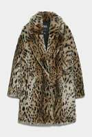 ZARA SOLD OUT ANIMAL PRINT FUR COAT LEOPARD  SIZE M