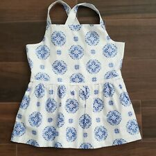 Janie and Jack Girls White w/ Blue Purple Floral Print Size 12