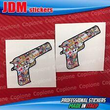 2 Adesivi STICKER BOMB Shoker Hand GUN auto moto Pistola