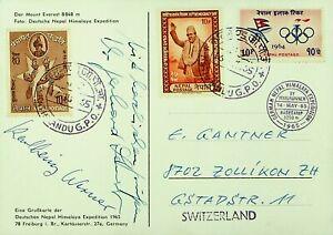NEPAL 1965 MT. EVEREST HIMALAYA EXPEDITION PPC W/ 3v F/ KATHMANDU TO SWITZERLAND