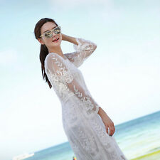 Vintage Lady Crochet Mesh Embroidered Lace Beach Swimsuit Bikini Cover Up Dress