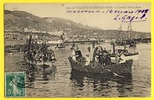 cpa de 1908 RADE de VILLEFRANCHE sur MER (Alpes Maritimes) COMBAT NAVAL FLEURI