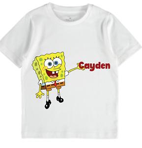 spongebob personalised tshirt boys toddler tops name birthday gift girls sale