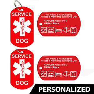 Service Dog ID Card - Pet Tags, Dog Tags, Personalized (Set of 2)