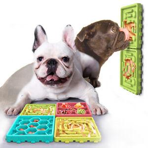 Dog Lick Mat Slow Feeder Set 4Pcs, Detachable Assembled ABS Dog Bowl Silicone La