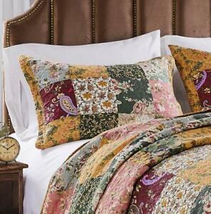 ANTIQUE CHIC QUILTED STANDARD SHAM : COTTON GREEN RED GOLD FLORAL PILLOW COVER
